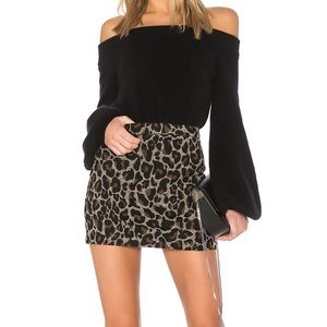 Lovers + Friends Sumatra Leopard Skirt Small
